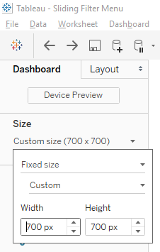 Tableau Sliding Dashboard, Size