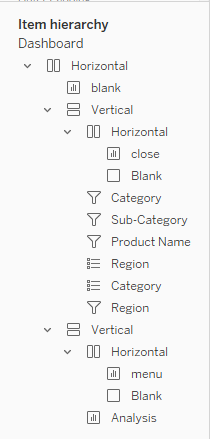 Tableau Sliding Dashboard, Items Layout